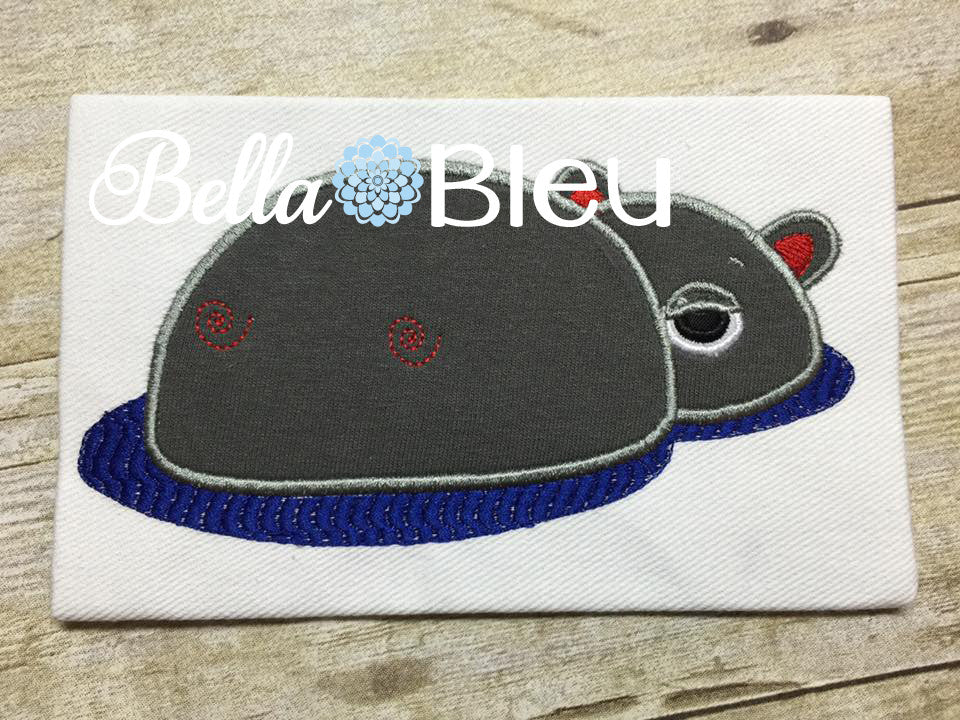 Hippo hiding in the water Machine Applique & Fill embroidery design