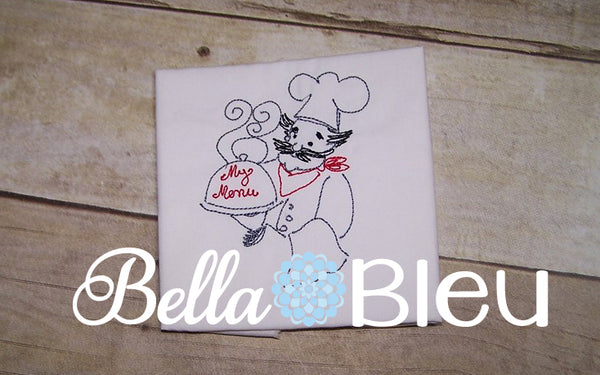 My Menu Kitchen Chef colorwork redwork machine embroidery design