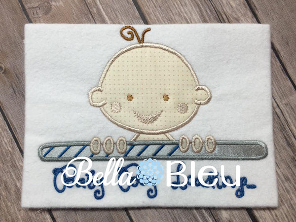 Adorable Applique Baby Boy Loading Machine Embroidery Design