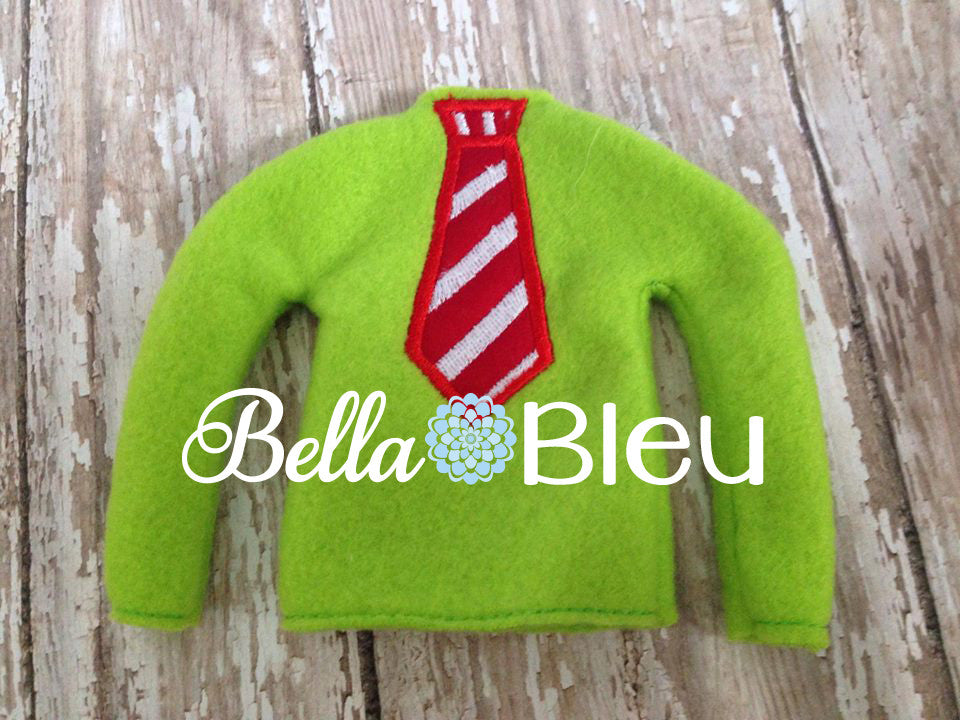 ITH In The Hoop Elf Candy Cane Striped Tie Sweater Shirt Embroidery Design