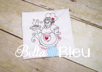 Chef in the Kitchen baking bread quick stitch colorwork redwork machine embroidery design