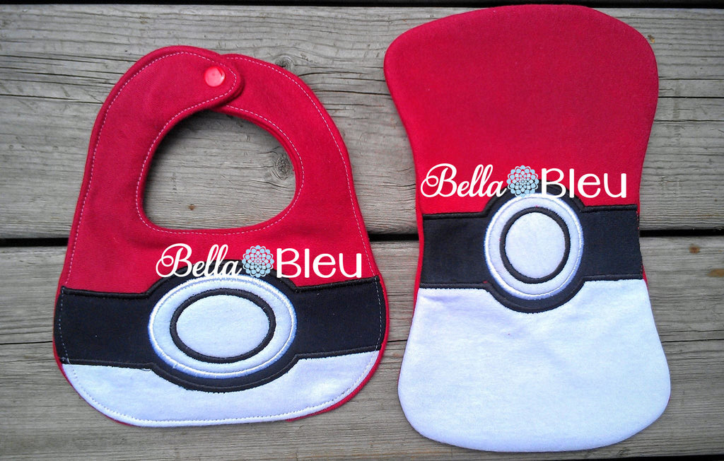 ITH In The hoop Baby Bib with Inspired Pokemon Ball Machine Embroidery Design 5 sizes