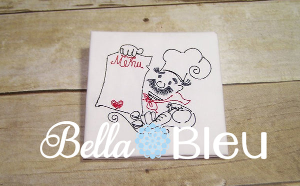 Beautiful Colorwork Kitchen Chef machine embroidery design