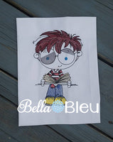 Boy Bookworm Reading Book Colorwork Machine Embroidery design
