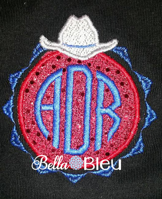 Western Cowboy Hat Monogram Applique
