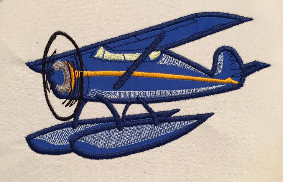 Sea Plane Machine Embroidery Applique Design