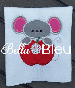 Adorable Teachers School Mouse with Apple Applique Machine Monogram Embroidery design