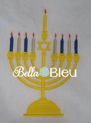 Hanukkah Embroidery Design, Star of David Menorah filled Embroidery Design, Chanukkah filled Embroidery Design
