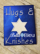 Hanukkah Embroidery Design, Star of David Applique Embroidery Design, Hugs and Knishes Applique Embroidery Design
