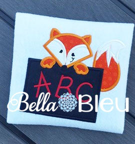 Adorable Applique School Fox holding a Chalkboard Machine Embroidery Design