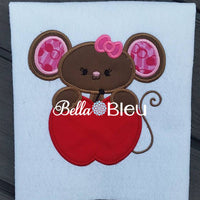 Teacher School Girl Mouse with Apple and Bow Applique Machine Monogram Embroidery design
