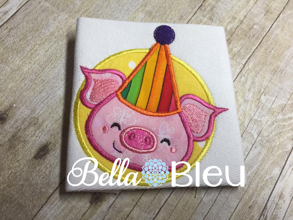 Happy Birthday Pig wearing a hat machine applique embroidery design