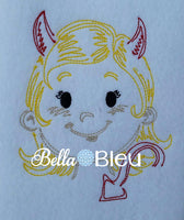 Colorwork Redwork Adorable Halloween Gothic Devil Girl With horns Machine Embroidery Design