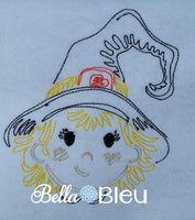 Beatuiful Colorwork Redwork Adorable Halloween Cute Witch Machine Embroidery Design