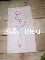 Ballerina Outline Machine Embroidery Design