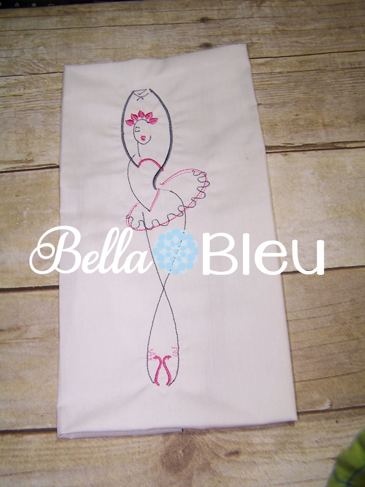 Beautiful Ballerina Ballet Outline Machine Embroidery Design