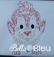 Beatuiful Colorwork Redwork Adorable Halloween WereWolf Wolf Machine Embroidery Design
