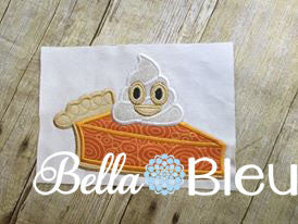 Pumpkin Pie Slice with Emoji Whip Cream Machine Applique Embroidery Design