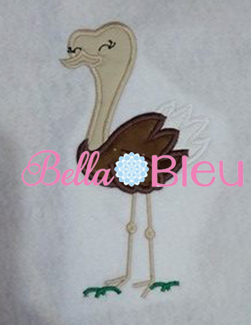 Exclusive Ostrich Bird Machine Applique Embroidery Design
