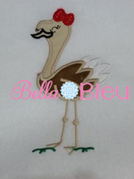 Exclusive Ostrich Girl with Bow Bird Machine Applique Embroidery Design