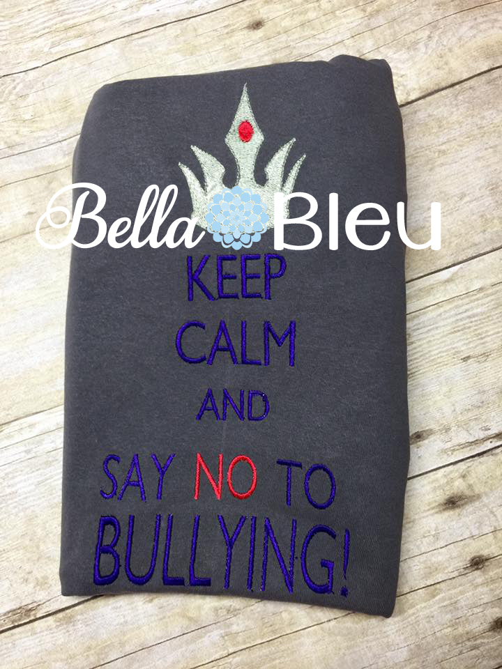 Keep Calm and Say No to Bullying Saying Machine Embroidery Design