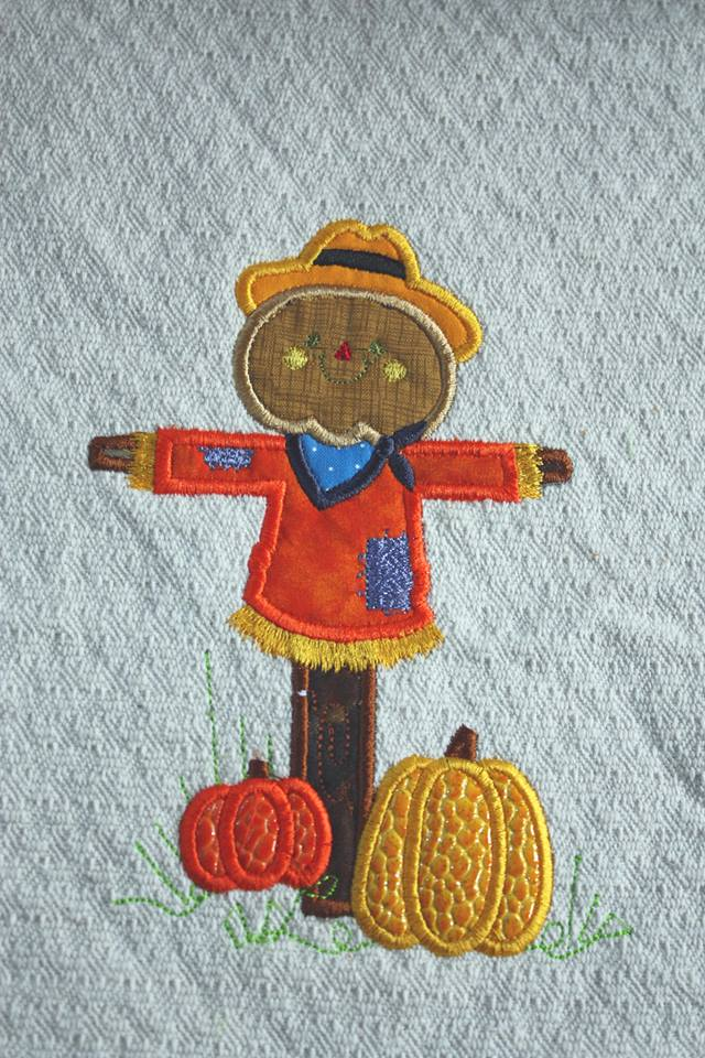 Fall Pumpkin Scarecrow Applique machine embroidery design 8x8