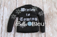 "ITH In The Hoop Elf Inspired Game of Thrones ""Winter is Coming"" Sweater Shirt Embroidery Design"