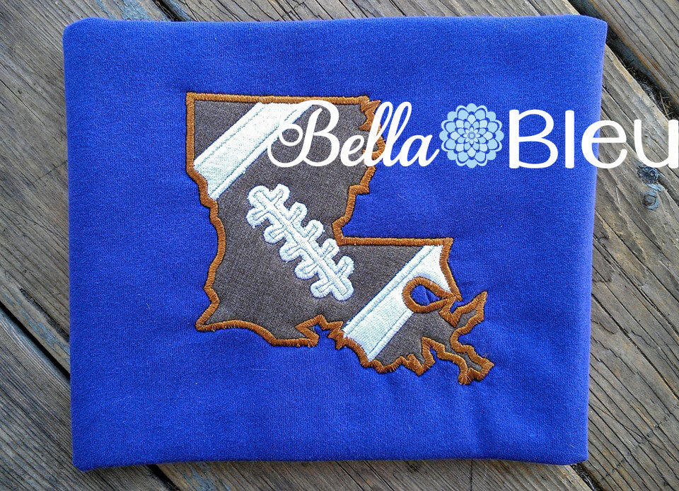 State of Louisiana Football laces machine embroidery applique design