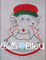 Mrs Santa Claus Christmas Redwork Colorwork Machine Embroidery Design