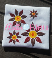 Fall Sun Flower Filled Machine Embroidery Design