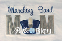 Marching Band Mom with Shako Hat Applique Machine Embroidery Design