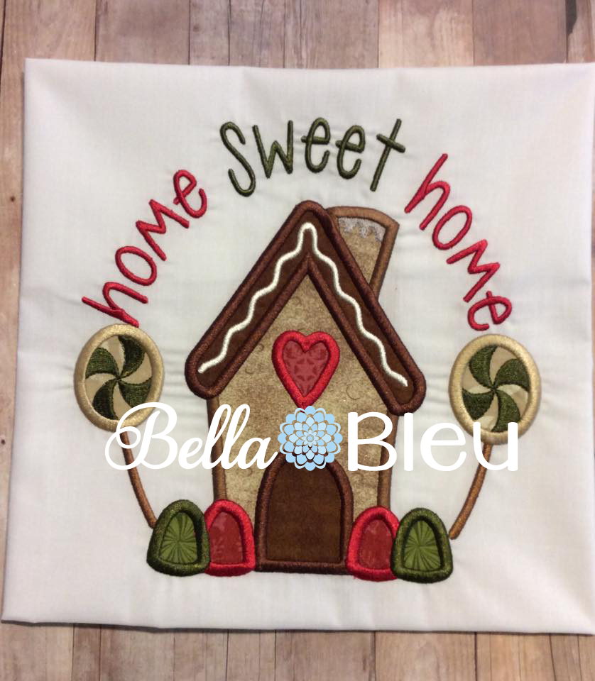 Gingerbread House Christmas Machine Applique Embroidery Design