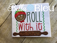 Gingerbread man Roll with It Kitchen machine applique embroidery design