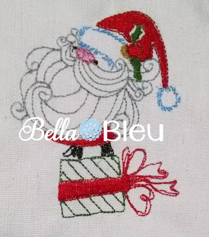 Santa Claus On Christmas Present Redwork Colorwork Machine Embroidery design
