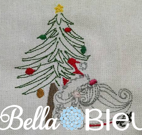 Christmas Tree and Santa Claus Machine Colorwork Embroidery Design