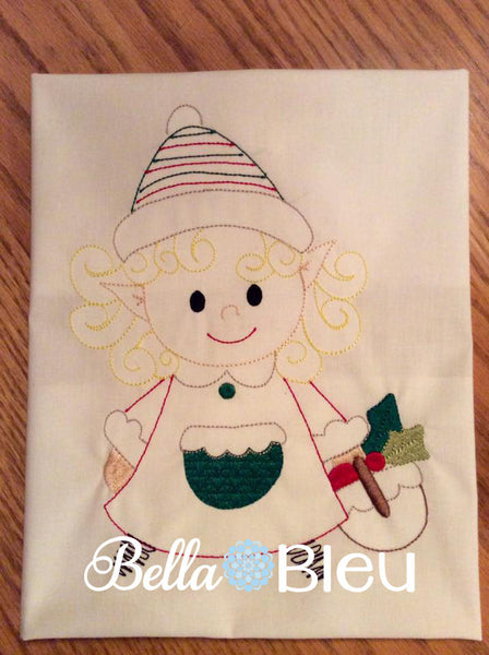 Christmas Elf Girl Quick Stitch Redwork Colorwork Machine Embroidery Design Exclusive to BBE