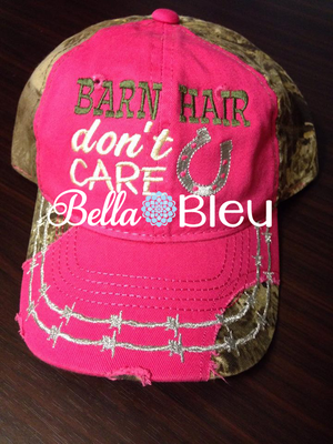 Barn Hair Don't Care Baseball Hat Cap Machine Embroidery Design, Horse shoe