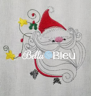 Santa Claus with Christmas Lights Machine Embroidery Design