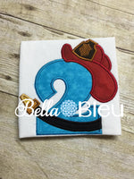 Baby's 2nd Birthday Fireman Number, Fireman Two Number Machine Applique Embroidery Design