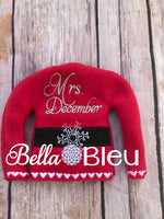 Adorable Mrs December Elf Sweater Shirt in the hoop machine embroidery design