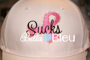 Cancer Sucks Awareness Ribbon Hat Machine Embroidery design
