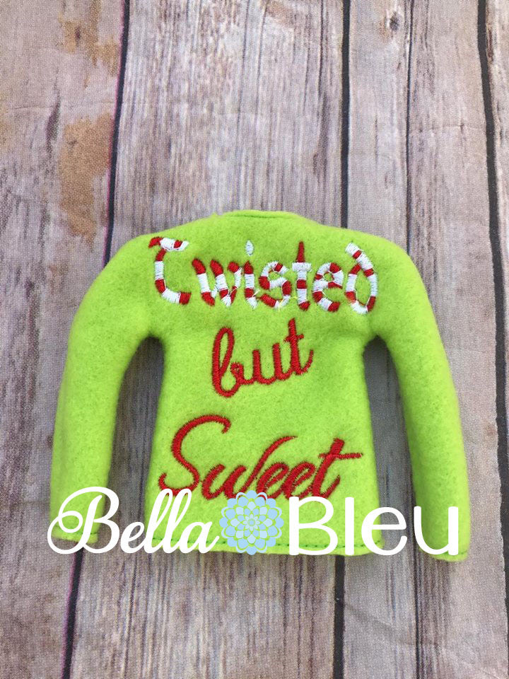 Twisted but Sweet Elf Sweater Shirt In the Hoop Machine Embroidery Design