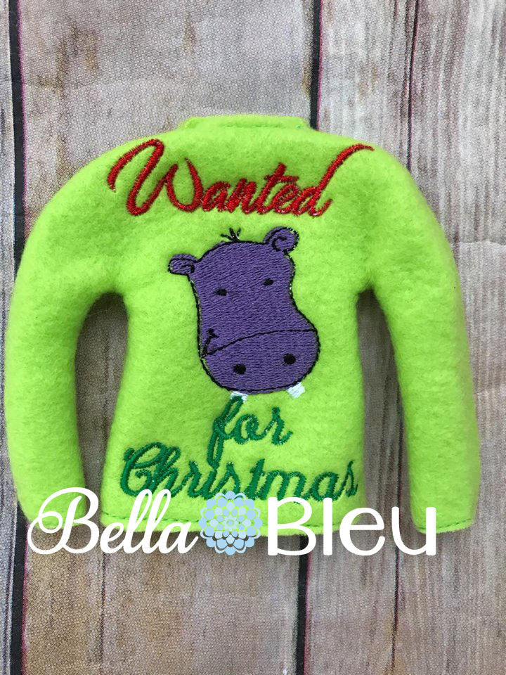 Wanted Hippo for Christmas Elf Sweater Shirt ITH Machine Embroidery Design