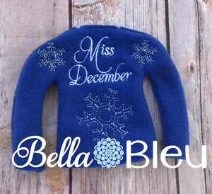 Adorable Miss December Elf Sweater In the hoop ith embroidery design