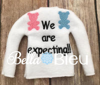 We're Expecting Baby Elf Sweater Shirt In the hoop machine embroidery design
