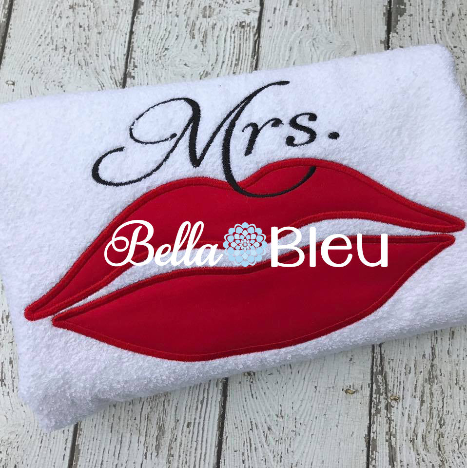 Wedding Mrs. Lips Machine Applique Embroidery Design