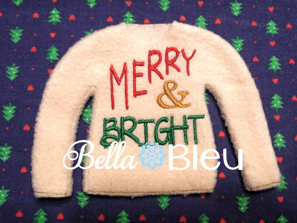 ITH Elf Christmas Merry & Bright Sweater Shirt Machine in the hoop embroidery design