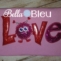Love Monster Valentines Machine Applique Embroidery Design