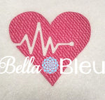 EKG Heart Heartbeat Patterned Filled Embroidery design