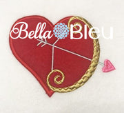 Cupid's Heart with Bow Machine Applique Embroidery Design